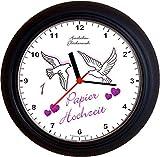Lucky Clocks TAUBEN ZUM 1. Hochzeitstag PAPIERHOCHZEIT lila Wanduhren