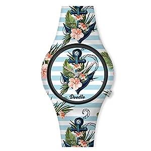 Doodle Watch Damenuhr Graphics Mood Tattoouhr Anker Blume DO35007