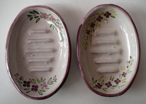 1 Portasapone Linea Fiori Viola Ceramica Realizzato e dipinto a