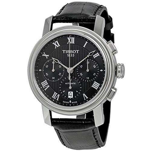 Tissot Homme 42mm Bracelet Cuir Noir Saphire Automatique Montre T0974271605300