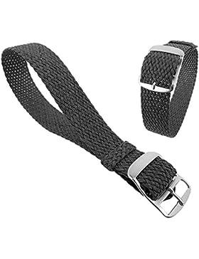 Minott Ersatzband Uhrenarmband Perlon Band Durchzugsband Textilband 28691, Farbe:grau, Stegbreite:22mm, Schließe...
