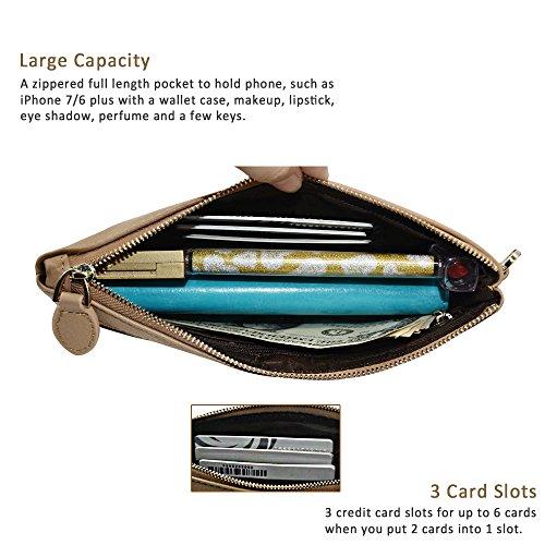 Befen pelle morbida Smartphone Zipper Wallet Organizer con il supporto della carta di credito / tasca contanti / Wristlet- [Fino a 6 x 3.1 * 0.3 pollici del cellulare] Black Light Khaki full grain lychee