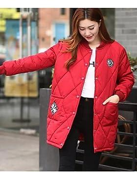 TT & ShangYi relleno de mujer, Abrigo Simple Casual liso algodón algodón manga larga, red, 2x l