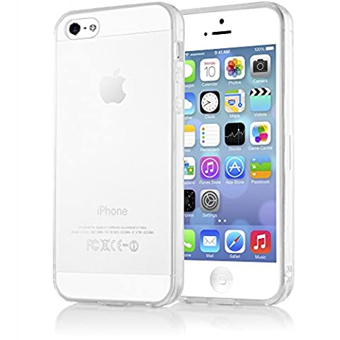 iPhone 5 5S SE Coque Silicone de NICA, Ultra-Fine Housse Protection Transparente Cover Slim Etui Résistante, Mince Telephone Portable Clear Gel Case Bumper Souple pour Apple iPhone SE 5S 5 - Transparent