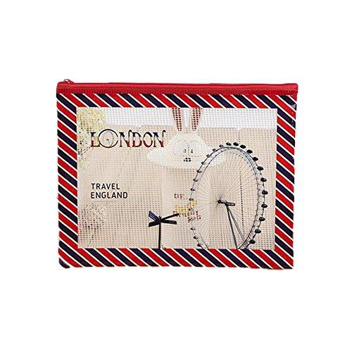 fablcrew Kunststoff Datei Tasche Reißverschluss Tasche Aufbewahrung Grid Wasserdicht Federmappe mit roten Streifen m Red stripe-M (Grid-streifen)