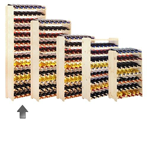 Casier à bouteilles / Étagère à vin OPTIPLUS modèle 5, en bois non traité, pour 91 bouteilles - H 172,4 x L 72 x P 26,5 cm