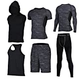 Showtime] Herren Fitness Anzug Set, Yoga, Laufen, Joggen, Gym Fitness Outfit Workout Sweatsuit Activewear (XL, A- 6 Pieces)