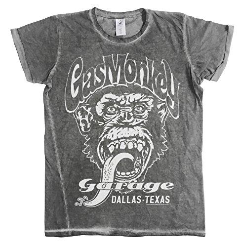Licenza Ufficiale Gas Monkey Garage - Dallas Texas Urban vestibilità slim Uomo Maglietta (Grigio), X-L