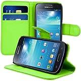 kwmobile Wallet Case Hülle für Samsung Galaxy S4 Mini i9190 / i9195 - Cover Flip Tasche mit Kartenfach und Ständerfunktion in Grün