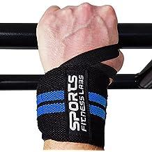 12massima mobilità polsiere da sport fitness Labs | Resistente con cinghie in velcro e un anello per pollice | Ideale per bodybuilding, sollevamento pesi, crossfit, powerlifting, per uomo e donna, set di 2