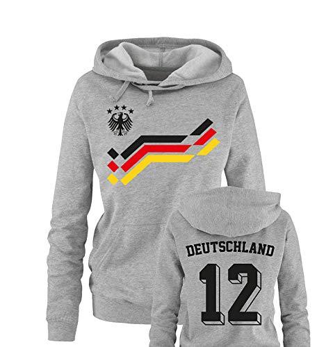 Comedy Shirts EM 2016 - Retro-Trikot - Deutschland - 12 - Damen Hoodie - Grau/Schwarz-Rot-Gelb Gr. M