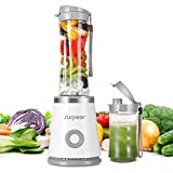 Mini Blender,SURPEER Blender Smoothie,Mixeur Blender,2 Bouteilles Portable de Tritan Sans BPA,Blender Portable pour Milk-shake, Smoothies et Jus de Fruits et Legumes,350W,Blanc
