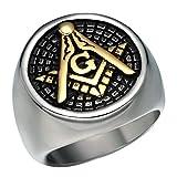 NBMCXC Anillos masónicos de la Vendimia para los Hombres Oro del Acero Inoxidable AG símbolo Negro Esmalte Anillos religiosas