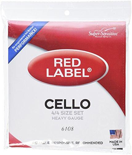 Super Sensitive 6108Red Label Cello Saiten Set-A, D, G, C-Nickel-4/4-ORCHESTER Gauge