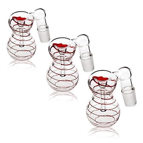 REANICE 3-PACK Accessories Pièces De Verre Bong Bowl 18.8mm Des Hommes coupes en verre commune et ash catcher bols diapositive bowl herb titulaire pour des bols avec couleur champagne carrée