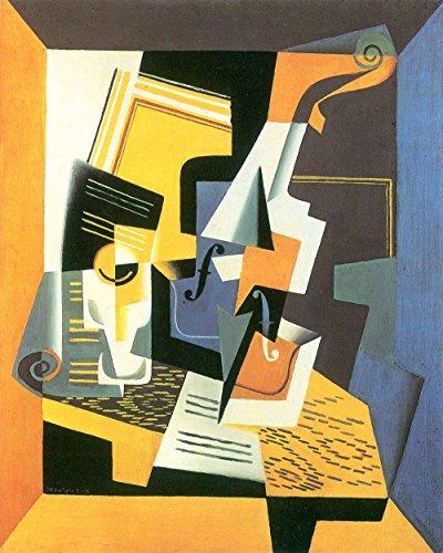 Gris Leinen (Das Museum Outlet-Violine und Glas von Juan Gris-A3Poster)