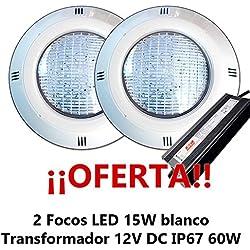 Oferta 2 Focos LED Blanco SMD5050 15W para piscina con transformador 60W