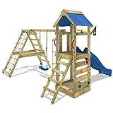 WICKEY Parco giochi StarFlyer Torre da gioco con parete d'arrampicata altalena sabbiera, scivolo blu + telone blu immagine