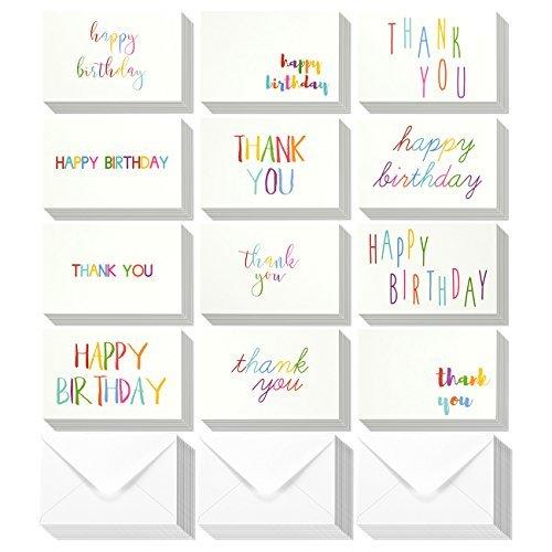 144sortiert, Happy Birthday Pack Grußkarten und Thank You Bulk Box Set-blanko auf der Innenseite-12Colorful Rainbow Schriftart Designs-Vielzahl Sortiment Umschläge enthalten 10,2x 15,2cm