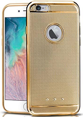 moex iPhone 6S   Hülle Glitzer Silikon Gold Glossy Back-Cover Chrom Silikonhülle Ultra-Slim Schutzhülle Glitter Handy-Hülle für iPhone 6/6S Case Dünn Gold Handy Cover