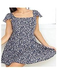 94b0b21206 La Primavera y el Verano Vestido Mujer Sexy Slim pequeña Espalda Falda  Encaje Floral
