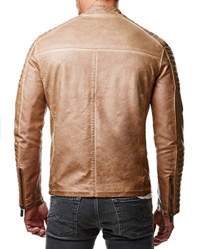Redbridge Herren Jacke Übergangsjacke Biker Lederjacke Echtleder Kunstleder Baumwolle mit gesteppten Bereichen Camel