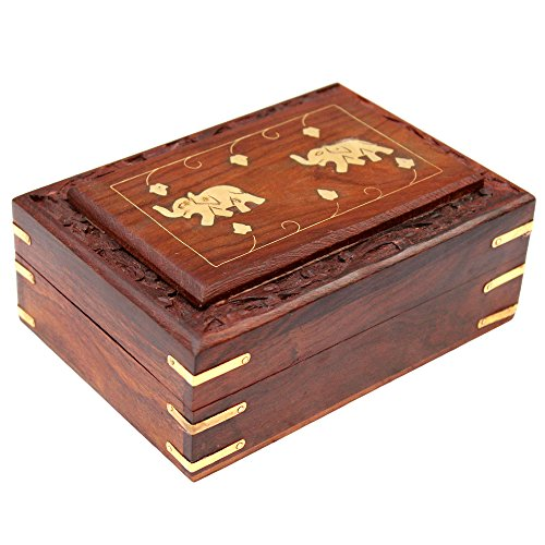 ITOS365 Handmade Wooden Jewellery Box for Women Jewel Organizer Elephant Décor, 6 Inches