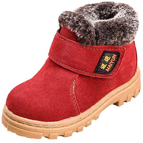 Chaussures de bébé,Fulltime® Bottes de neige chaude hiver enfant Style coton Boot Rouge