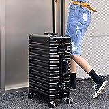 WANLN Leichte ABS Hard Shell Travel Halten Check-in-Gepäck-Koffer 4 Räder mit eingebautem TSA Zahlenschloss,Schwarz,29inch