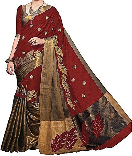 Kanchan Women's Silk Saree (AKRED EMB_Multi Coloured)
