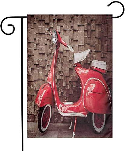 Shinanla Einseitiger dekorativer Garten-Hauptflaggen-Weinlese-Retro- Motorrad Roller vor Wand-Fahrzeug-Verkehr-städtischem Bild-ursprünglichen Garten-Dekorations-rotem Umber