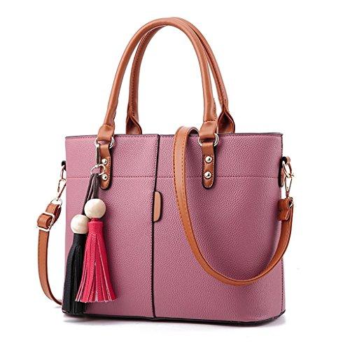 Baymate Damen Sommer Mode Schulter Messenger Bag beiläufige Handtasche mit Fransen Tasche große Taschetasche Dunkel Pink