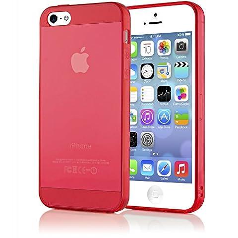 iPhone 5 5S SE Coque Silicone de NICA, Ultra-Fine Housse Protection Transparente Cover Slim Etui Résistante, Mince Telephone Portable Clear Gel Case Bumper Souple pour Apple iPhone SE 5S 5 - Rouge