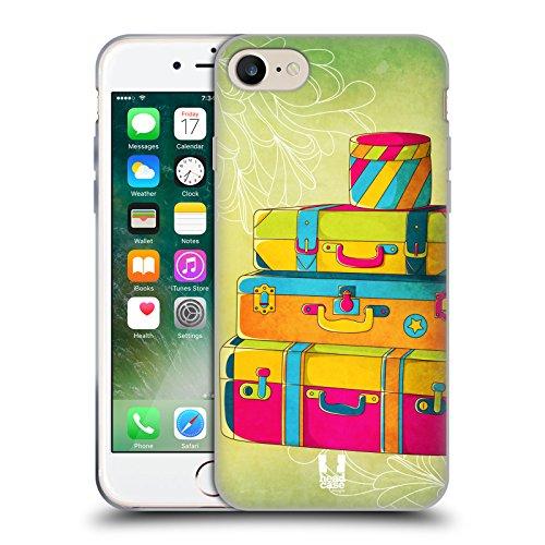 Head Case Designs Telefono Jazzy Vintage Cover Morbida In Gel Per Apple iPhone 7 / iPhone 8 Valigia