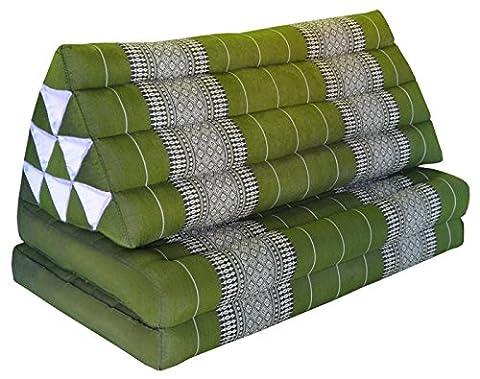 Kapok Thaikissen, Yogakissen, Massagekissen, Kopfkissen, Tantrakissen, Sitzkissen - Grün (Kissen mit zwei Auflagen XXL 79x49x46 (81817))
