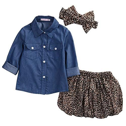 Hahuha Kinderbekleidung,6-12 Monate Kind Kinder Baby Mädchen Outfits Jeanshemd Tops + Leoparden Rock + Stirnband 3er Set
