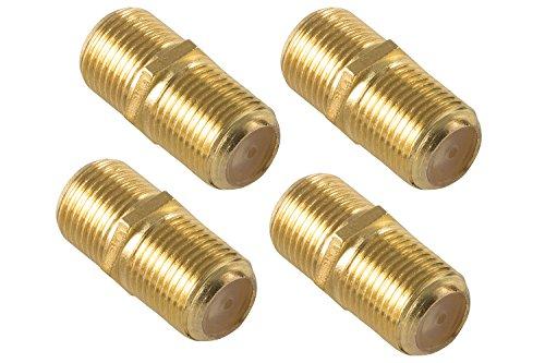 Poppstar 4x SAT Koaxialkabel Kupplung (F-Verbinder (Buchse auf Buchse) für 4 - 8,2 mm Coax Kabel mit F-Stecker), Verbindungsstecker für Koax - Antennenkabel, vergoldet