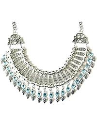 Réf440 CO.1581 - Collier Fantaisie Femme Style Boho - Plastron Bohème Ethnique Tibétain Perles Bleu Ciel - Métal Argenté