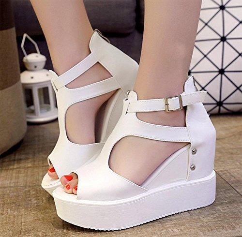 sandales tête de poisson printemps et en été la pente avec une croûte épaisse chaussures imperméables chaussures plate-forme creuse dames chaussures à talons hauts White