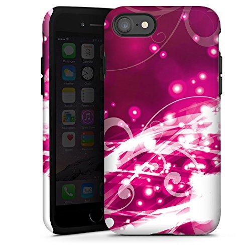 Apple iPhone X Silikon Hülle Case Schutzhülle Abstrakt Glitzer Pink Tough Case glänzend