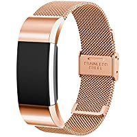 Chofit Fitbit Charge 2 Heart Rate Replacement Milanese Stainless Steel Loop Wrist Band Strap Bracelet with Installation Tool-Rose Gold