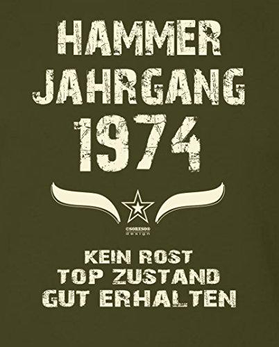 Geschenk-Set zum 43. Geburtstag : Hammer Jahrgang 1974 : Geburtstagsgeschenk Männer Herren Fun T-Shirt & Urkunde : Geschenkidee : Übergrößen bis 5XL Farbe: khaki Khaki