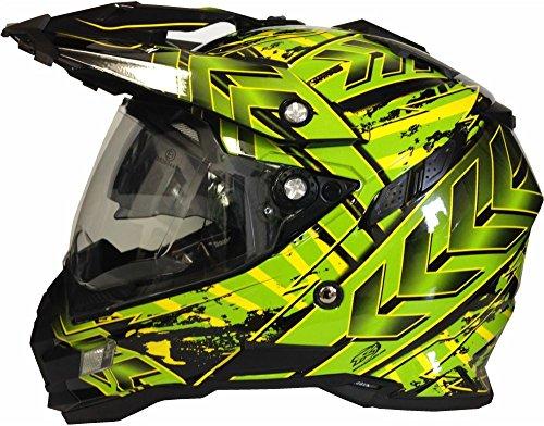 Motorradhelm MX Enduro Quad Helm Schwarz Grün mit Visier und Sonnenblende Gr. M - 2