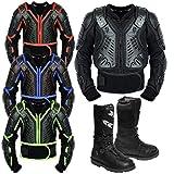 REXTEK Armors de motocicleta para niños, para motocicleta, motocicleta, motocross, motocicleta, piel, botas para niños, aprobado por la CE, chaqueta de protección para niños