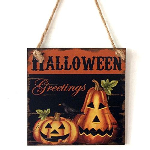 Halloween Tür-Schilder aus Holz mit Kordel zum Aufhängen - Türhänger Wandschild Türschild Dekoration - für Halloween Thanksgiving Erntedankfest Party (Zwei Kürbisse)