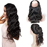 Perruque Naturelle 360 Lace Frontal Closure Peruvienne Hair Pre Plucked Human Tissage Meche Cheveux Naturel Couleur Ondule Lance Grade 8A Body Wave Curly 10 Inch