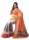 Shubhi Creation Women's Orange Bhagalpuri Cotton Saree With Unstiched Blouse