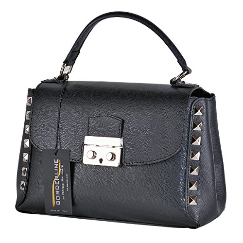 BORDERLINE - 100% Made in Italy - Borsa rigida da Donna in Vera Pelle con borchie - FRANCESCA Nero