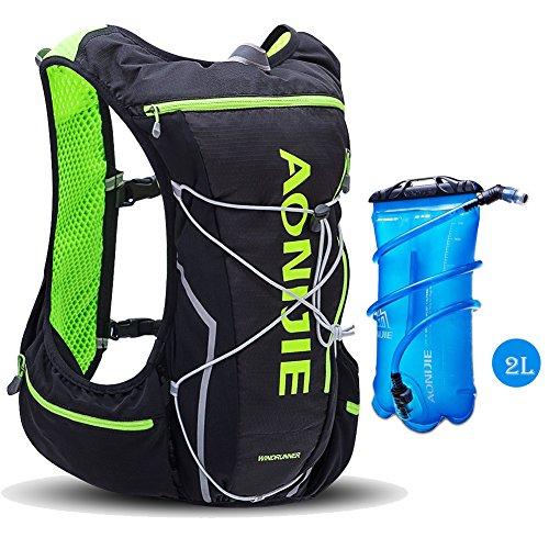 d42ae180304ba aonijie Wandern Radfahren Laufen Rucksack Hydration Pack mit 2L Wasser  Blase Tasche leicht Tagesrucksack schwarz   grün