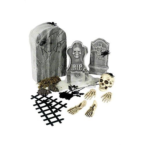 Amakando Halloween Deko Grabsteine Friedhof Set 24 TLG. Halloweendeko Skelett Grab Halloweendekoration Gruseldeko Horror ()